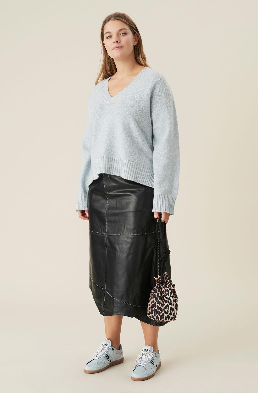 가니 비대칭 가죽 롱스커트 Ganni Wavy Asymmetrical Leather Midi Skirt,Black