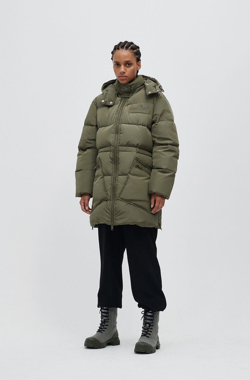 가니 오버사이즈 패딩 자켓 Ganni Tech Puffer Oversized Puffer Midi Jacket,Kalamata