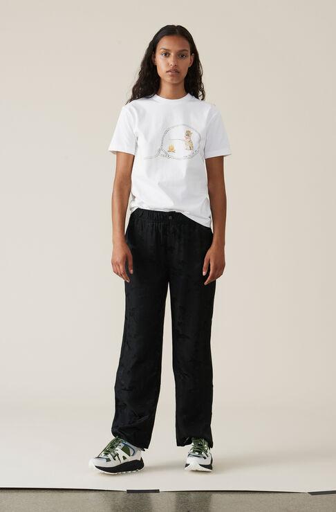 Silk Jacquard Pants, Black, hi-res