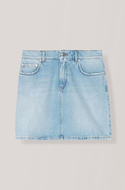 Washed Denim Skirt, Bleached Denim, hi-res