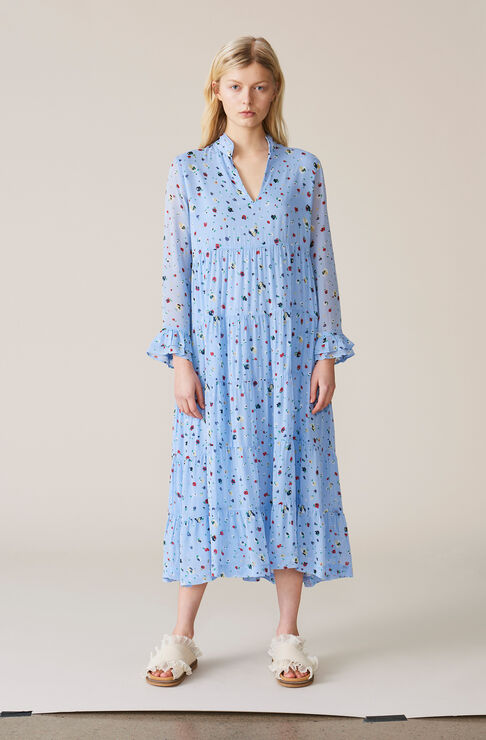 Dainty Georgette Dress, Serenity Blue, hi-res