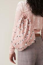 Stretch Velvet Wrap Blouse, Silver Pink, hi-res