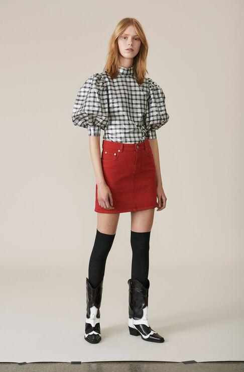 Denim Mini skirt, Fiery Red Overdye, hi-res