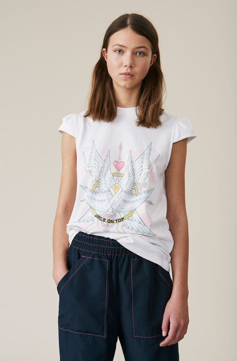 Heavy Cotton Jersey Top, Wings, Bright White, hi-res