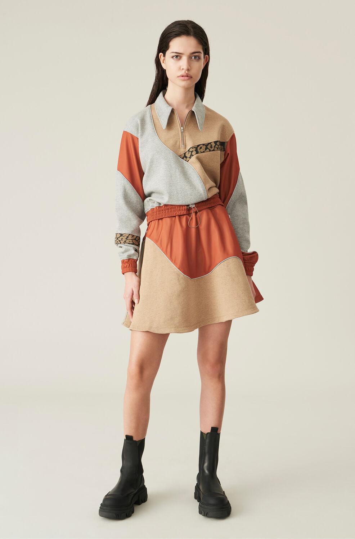 가니 스커트 Ganni Isoli Patchwork Mini Skirt,Dawn