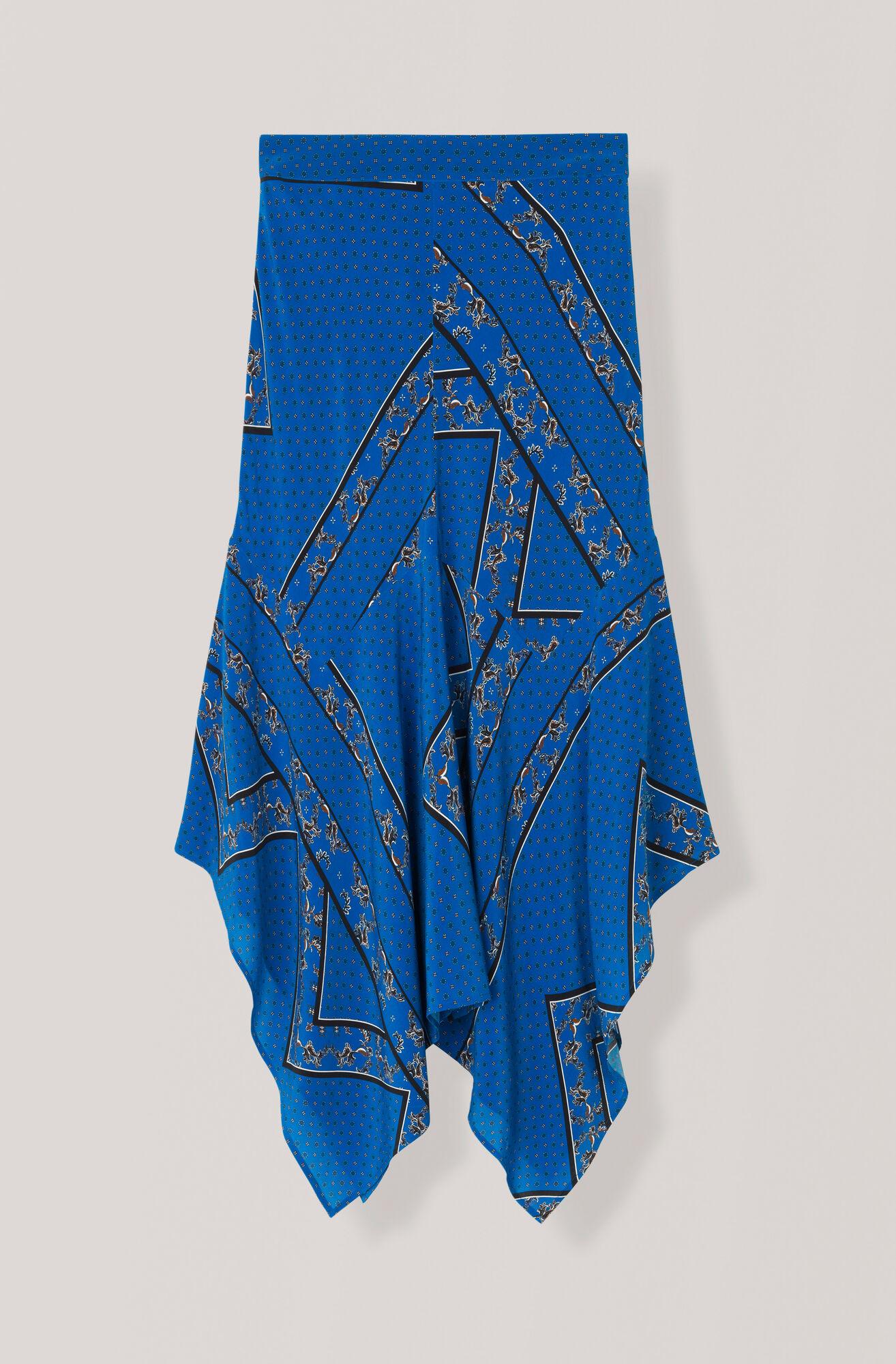 Sandwashed Silk Kjol, Lapis Blue, hi-res