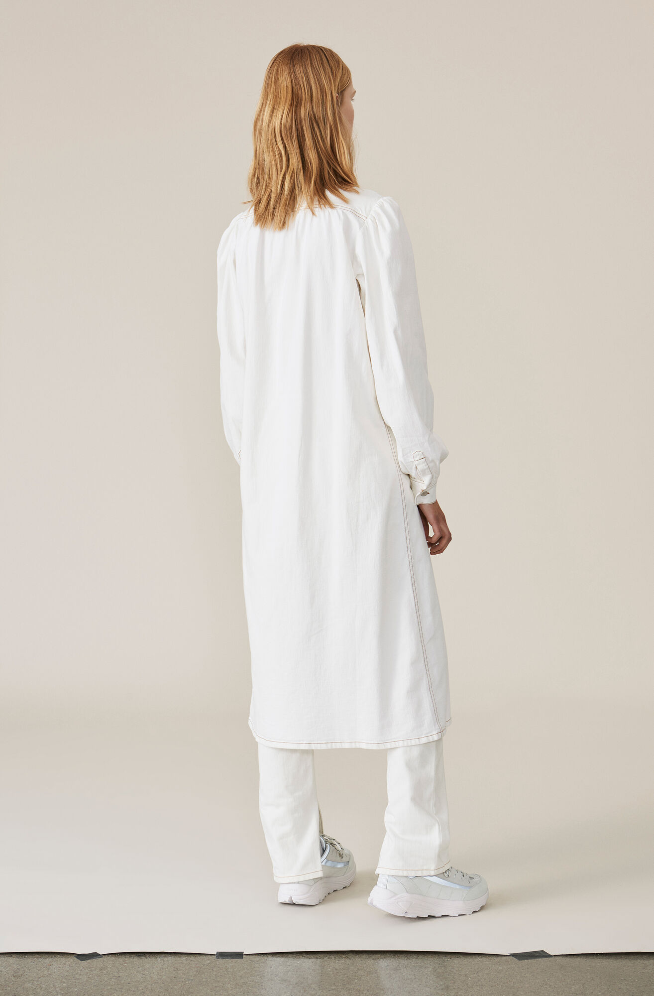 Soft Denim Kjole, White, hi-res