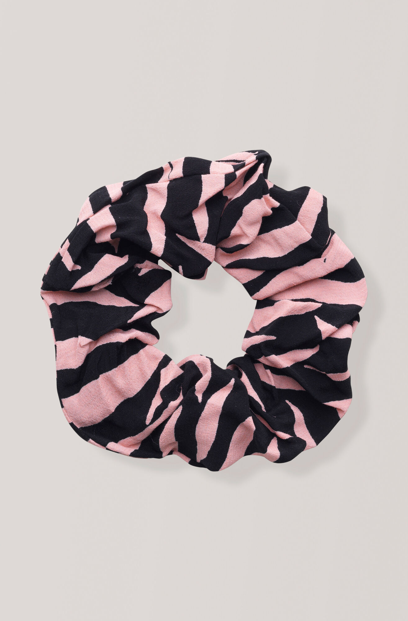 Printed Crepe Scrunchie, Black, hi-res