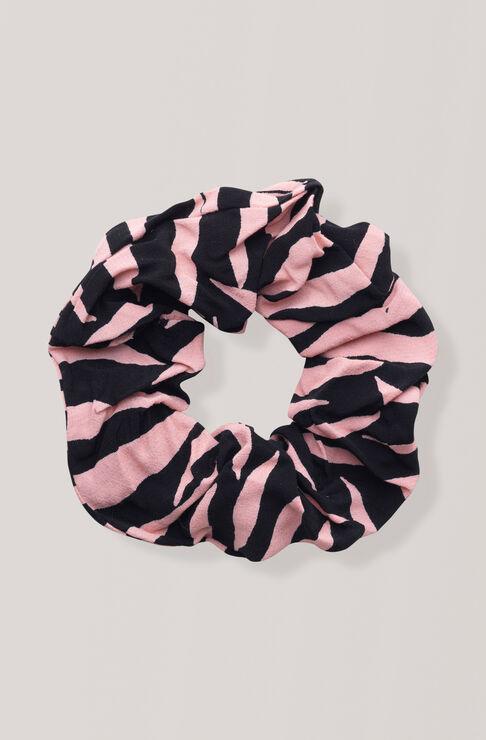 Printed Crepe Scrunchie, Black, hi-res