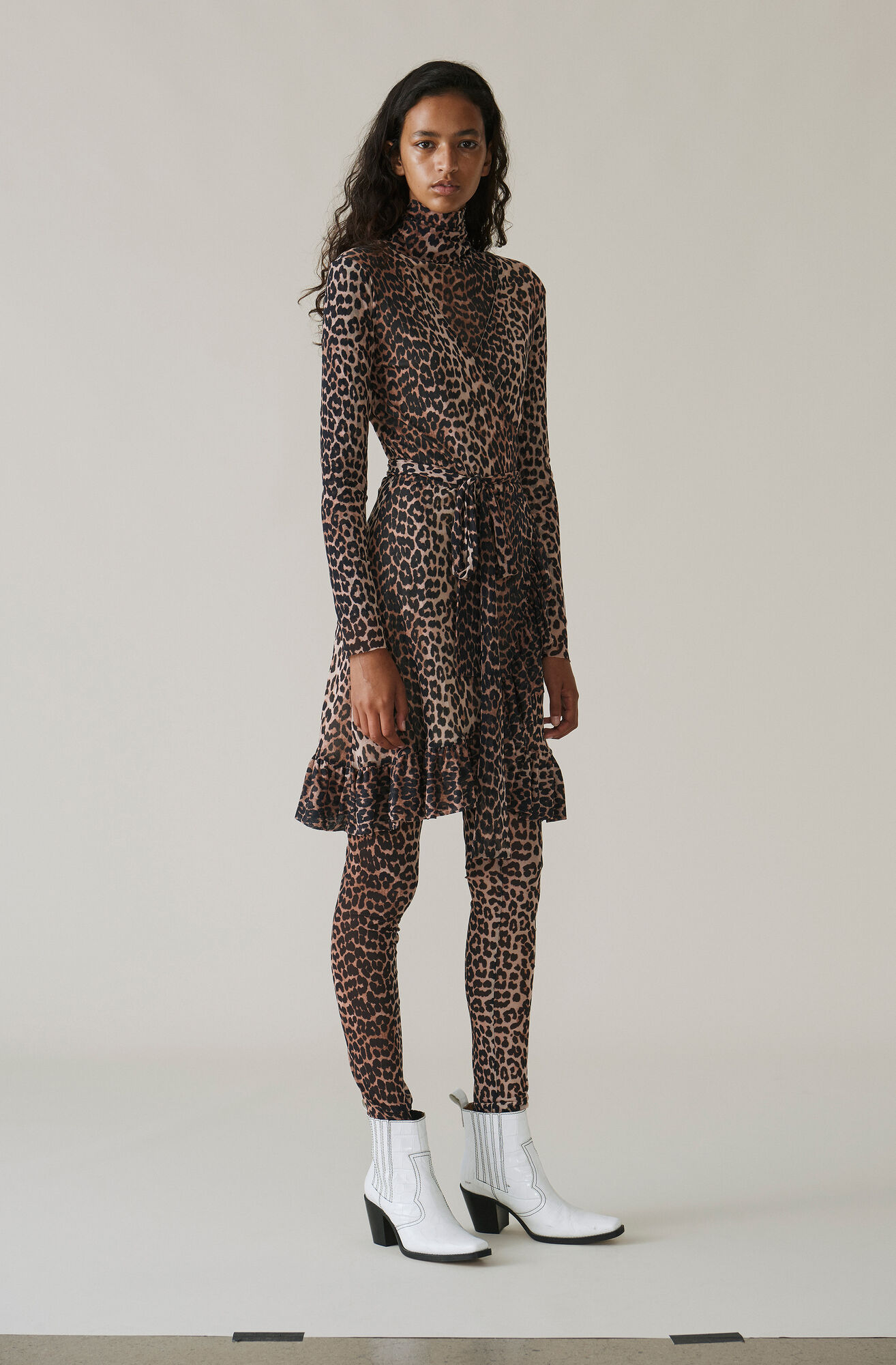 Tilden Mesh Wrap Dress, Leopard, hi-res