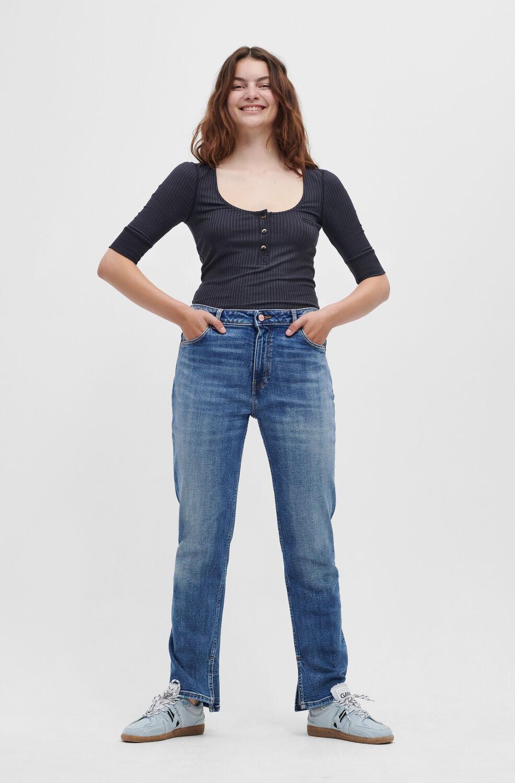 가니 청바지 Ganni Beksi Jeans,Mid Blue Vintage