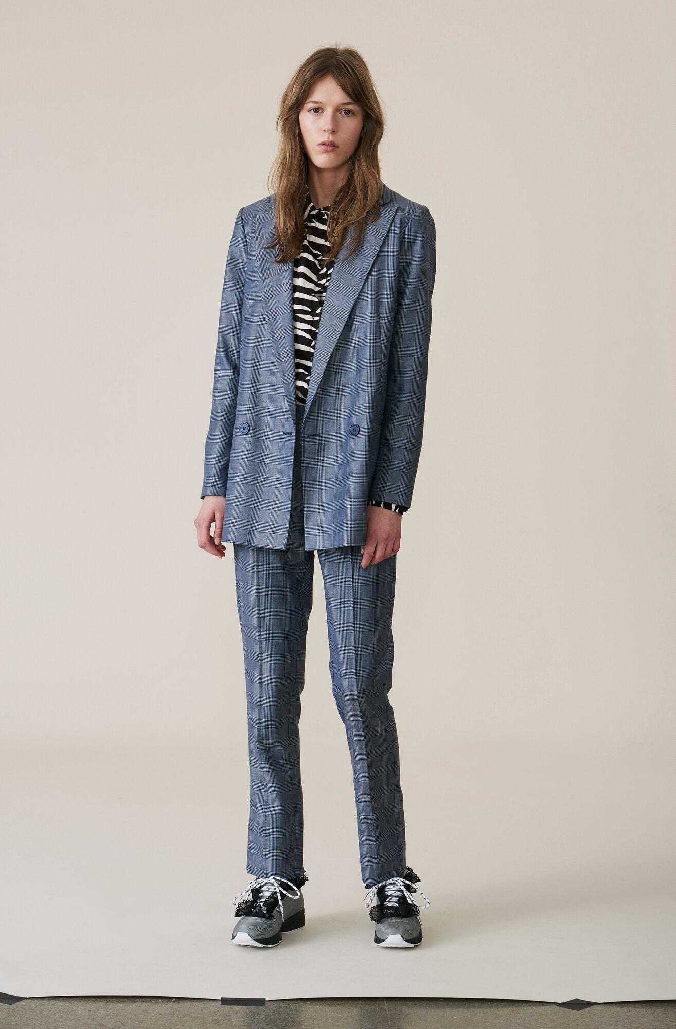 Silk Wool Suiting Bukser, Serenity Blue, hi-res