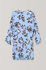 Printed Crepe Kjole, Serenity Blue, hi-res