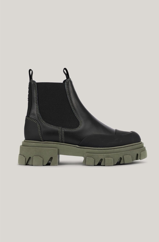 가니 첼시 앵클 부츠 Ganni Leather Chelsea Boots,Black/Green
