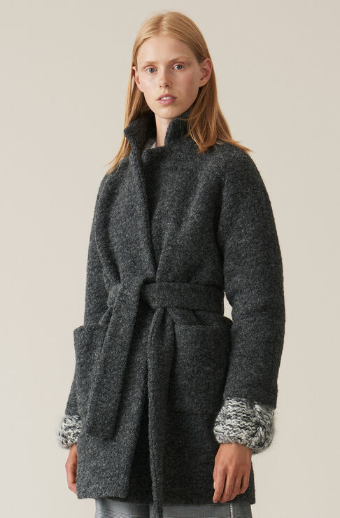 Boucle Wool Wrap Coat, Ebony Melange, hi-res
