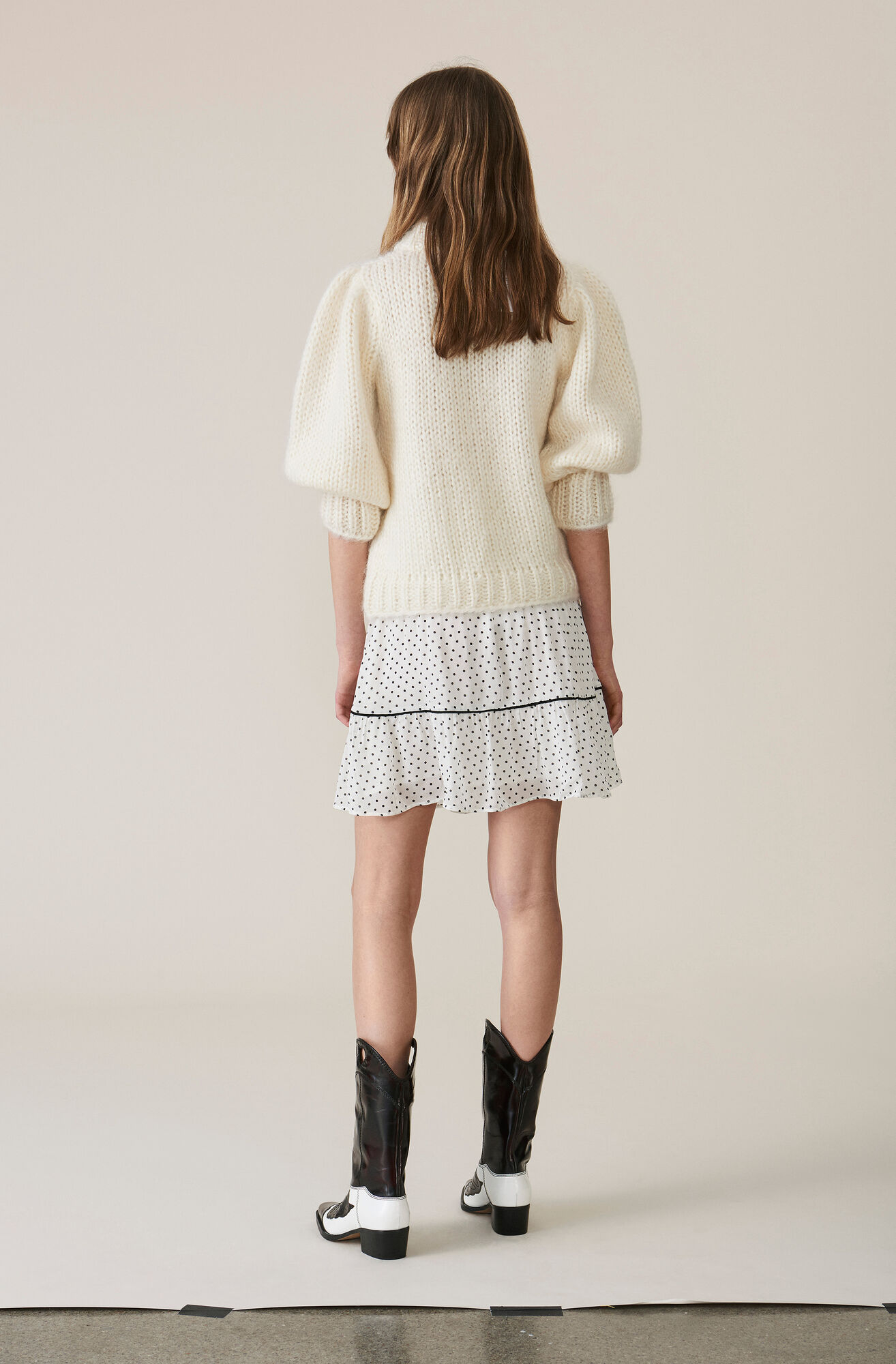 Hand Knit Wool Puff Sleeve Pullover, Egret, hi-res