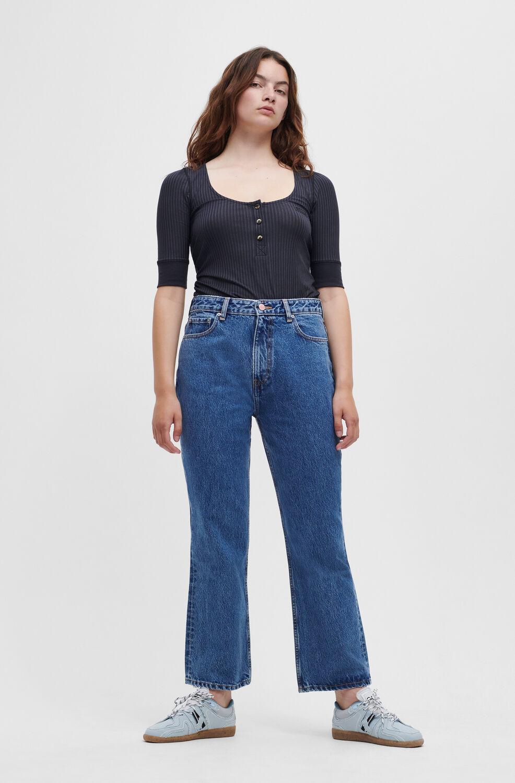가니 청바지 Ganni Betzy Jeans,Mid Blue Stone