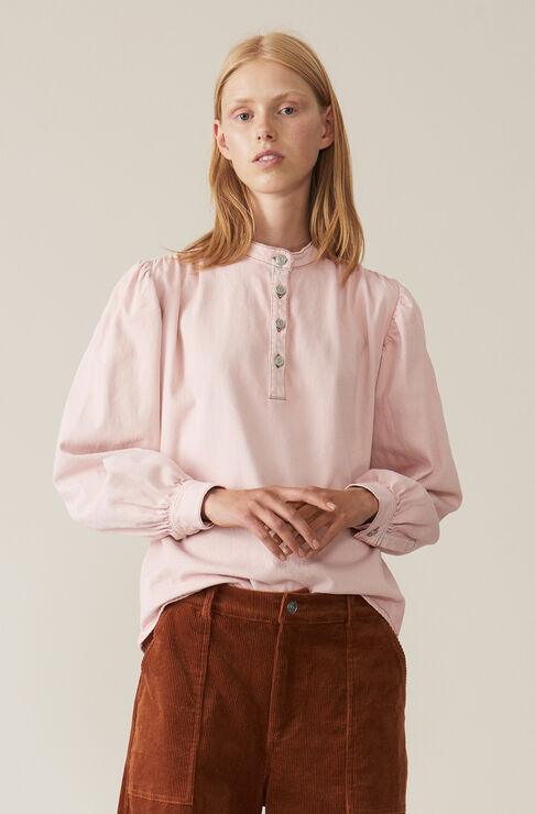 Soft Denim Blouse, Silver Pink Overdyed, hi-res