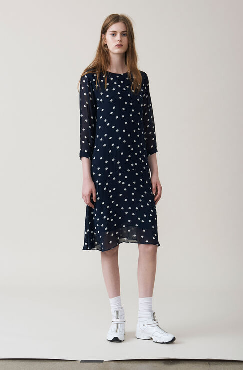 Marceau Georgette Dress, Total Eclipse, hi-res