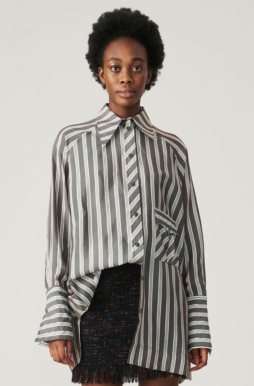가니 스트라이프 셔츠 Ganni Lightweight Stripe Oversized Shirt,Phantom