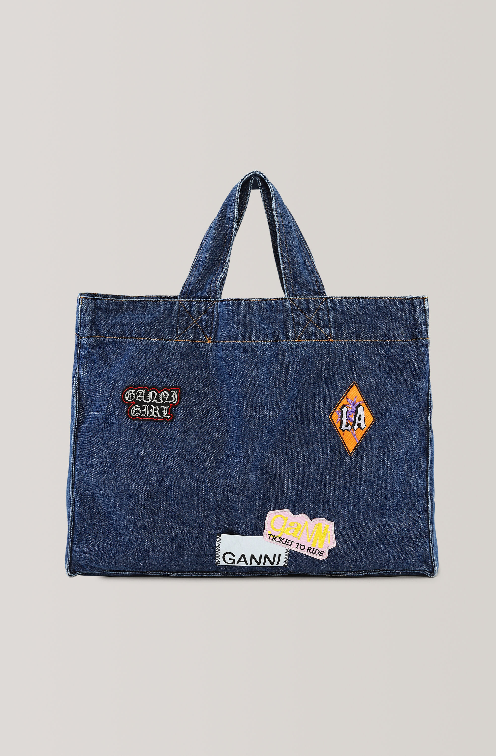 Ganni West Tote Bag, Medium Dark Denim, packshots