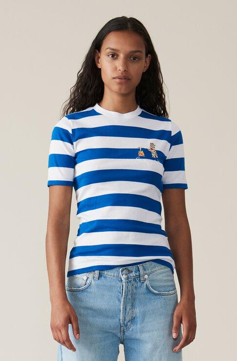 Stripe Rib T-shirt, Cowboy Cat, Lapis Blue, hi-res