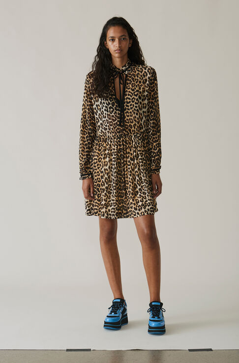 Fairfax Georgette Mini Dress, Leopard, hi-res