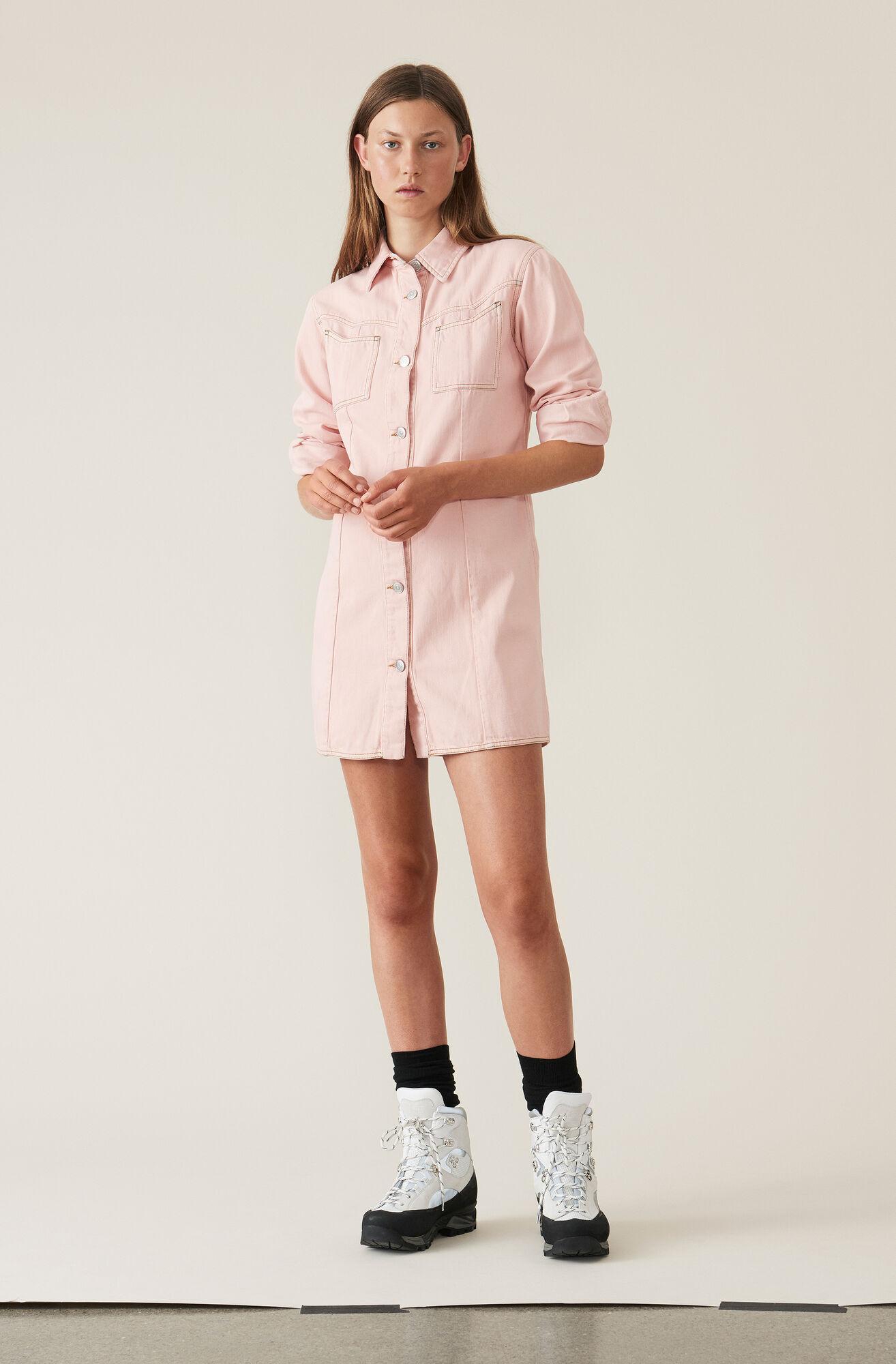 Soft Denim Skjortaklänning, Silver Pink Overdyed, hi-res