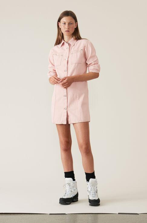 Soft Denim Shirt Dress, Silver Pink Overdyed, hi-res