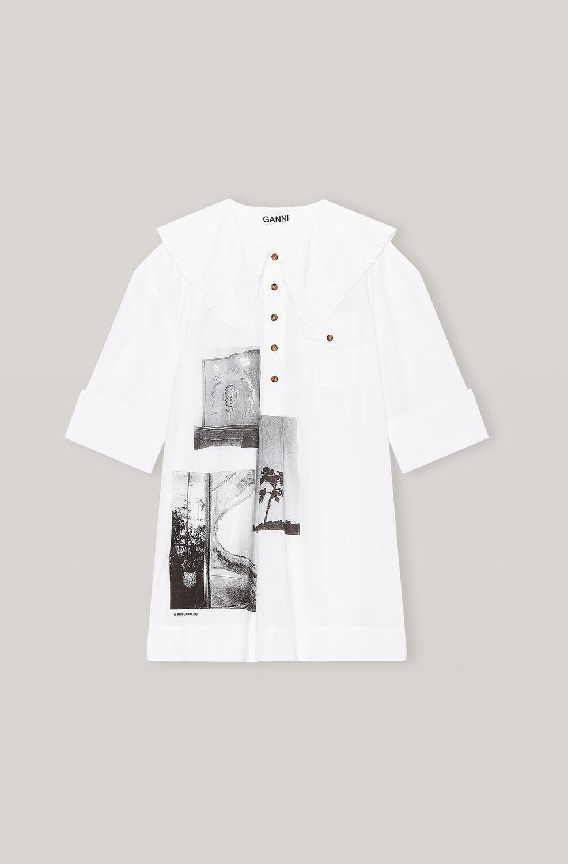 가니 셔츠 Ganni Printed Cotton Poplin Oversized Shirt,Sharkskin