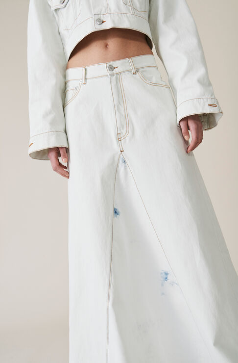 Denim Runway Skirt, Bleach, hi-res
