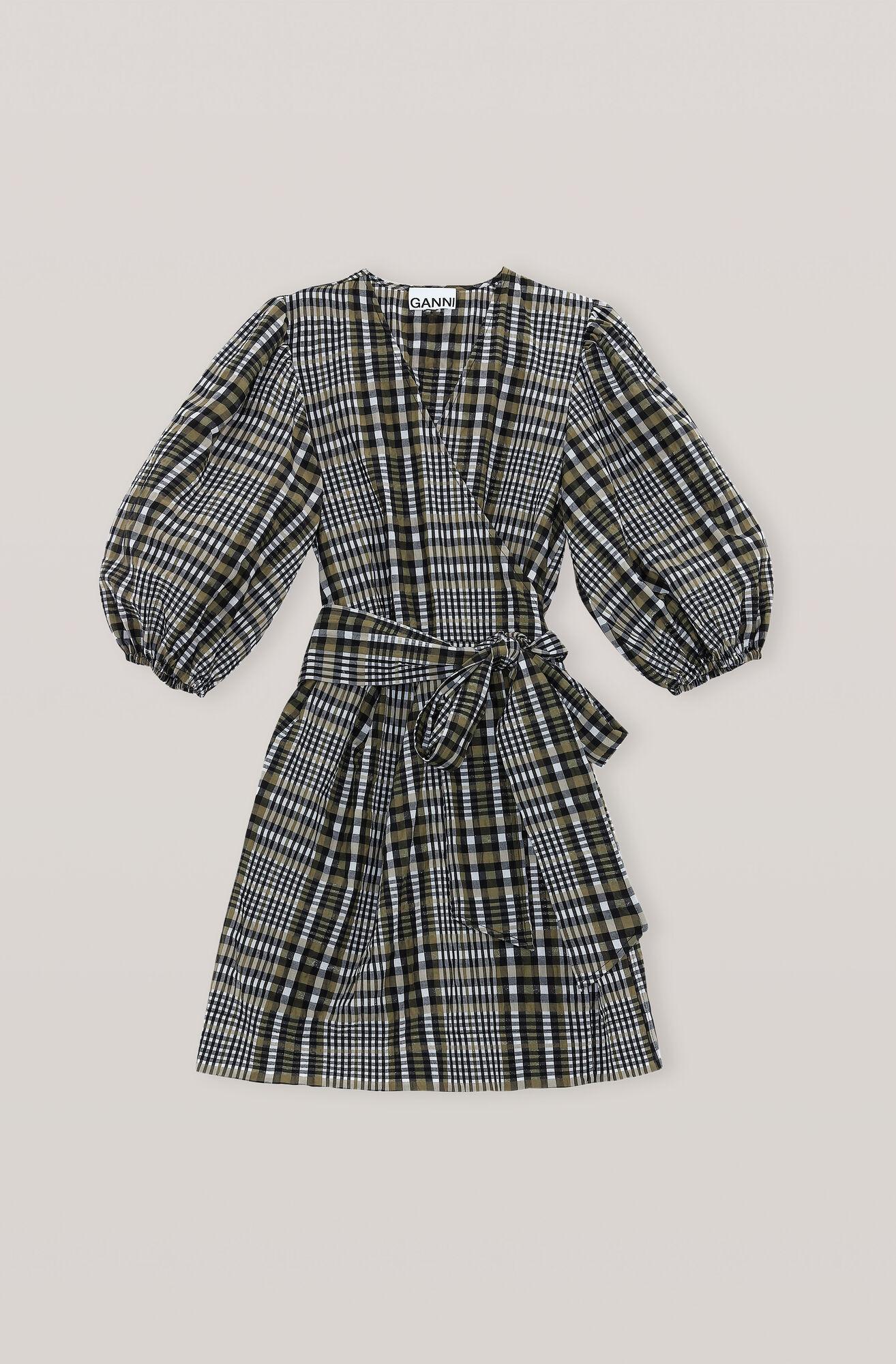 Ganni Us Seersucker Check Wrap Dress 245 00 Usd Shop Your