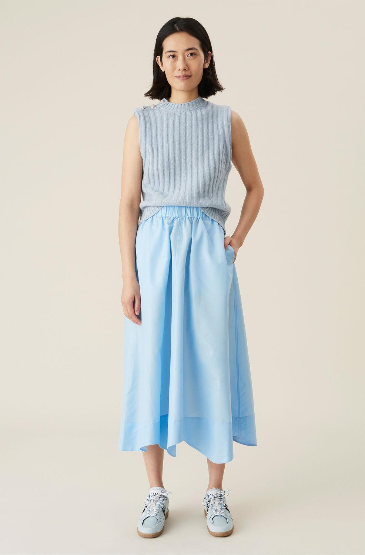 Ganni Blue Tafetta Wavy Midi Skirt,Airy Blue