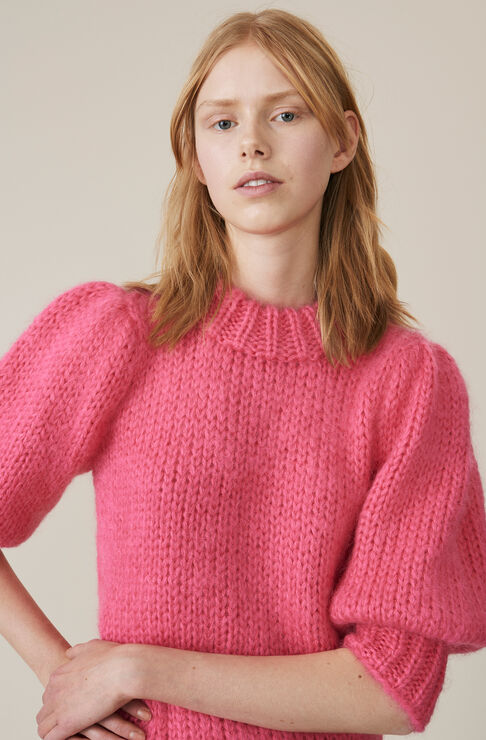 Hand Knit Wool Puff Sleeve Pullover, Hot Pink, hi-res