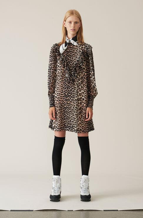 Printed Georgette Mini Dress, Leopard, hi-res