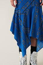 Sandwashed Silk Skirt, Lapis Blue, hi-res