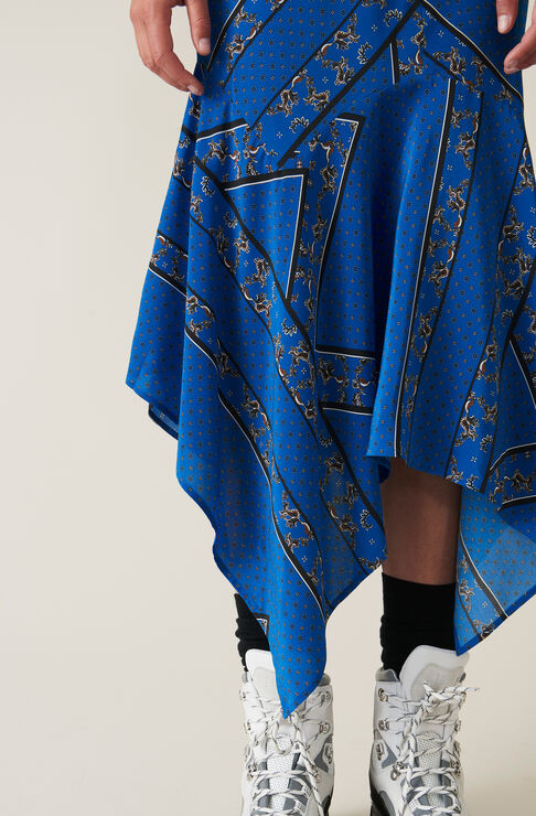 Sandwashed Silk Skirt, Lapis Blue, hi-res