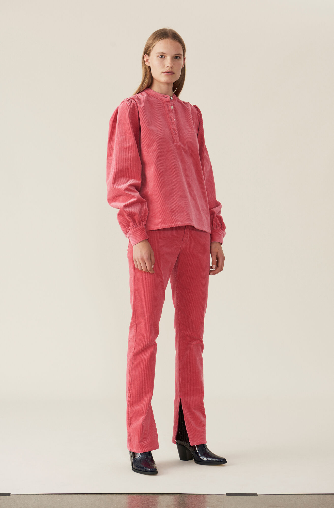 Stretch Corduroy Blouse, Hot Pink, hi-res