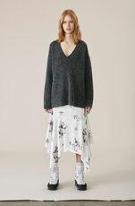 Soft Wool Knit V-neck Pullover, Ebony Melange, hi-res