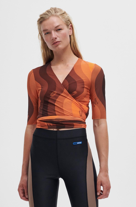 가니 블라우스 Ganni Printed Mesh Wrap Blouse,Orange Peel