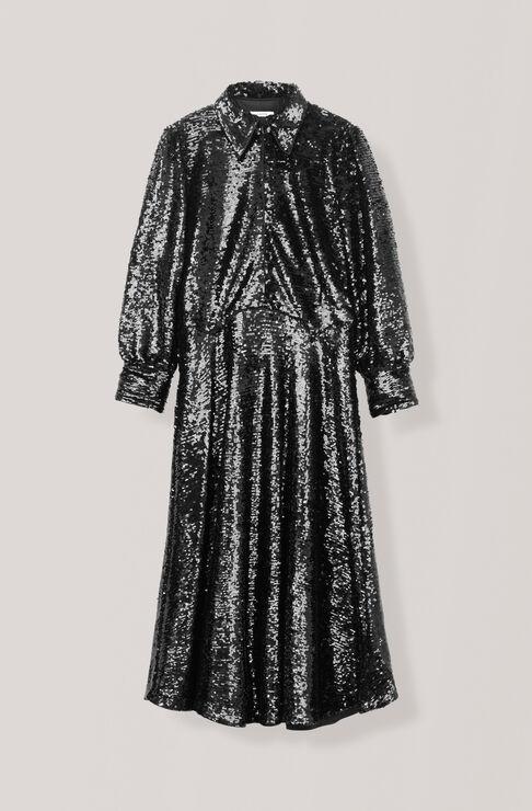 Sequins Dress, Black, hi-res