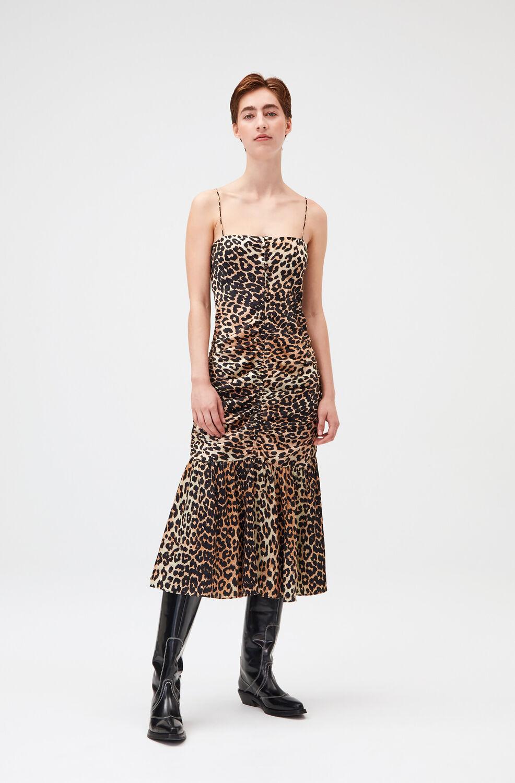 가니 레오파드 실크 민소매 원피스 Ganni Silk Satin Slip Midi Dress,Leopard