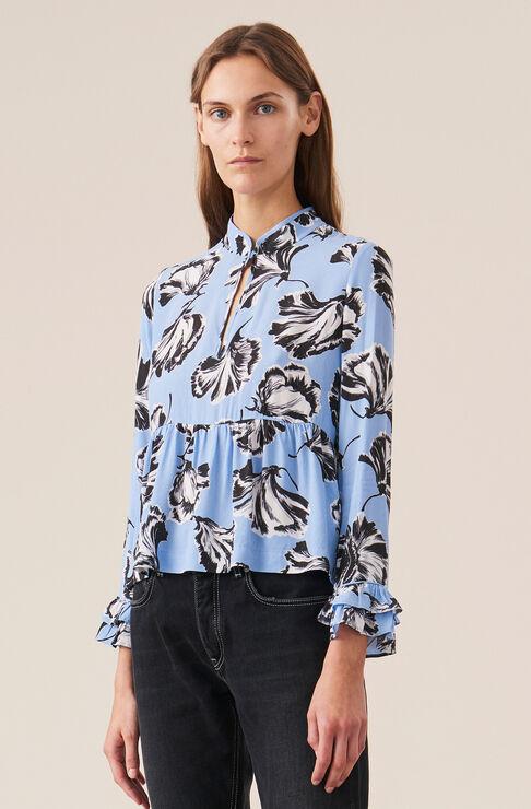 Printed Crepe Bluse, Serenity Blue, hi-res