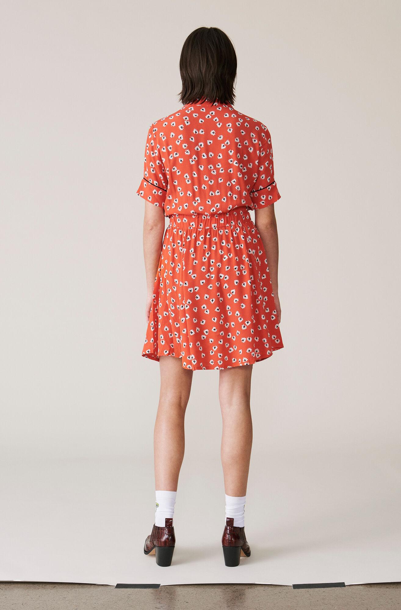 Silvery Crepe Twist Dress, Big Apple Red, hi-res