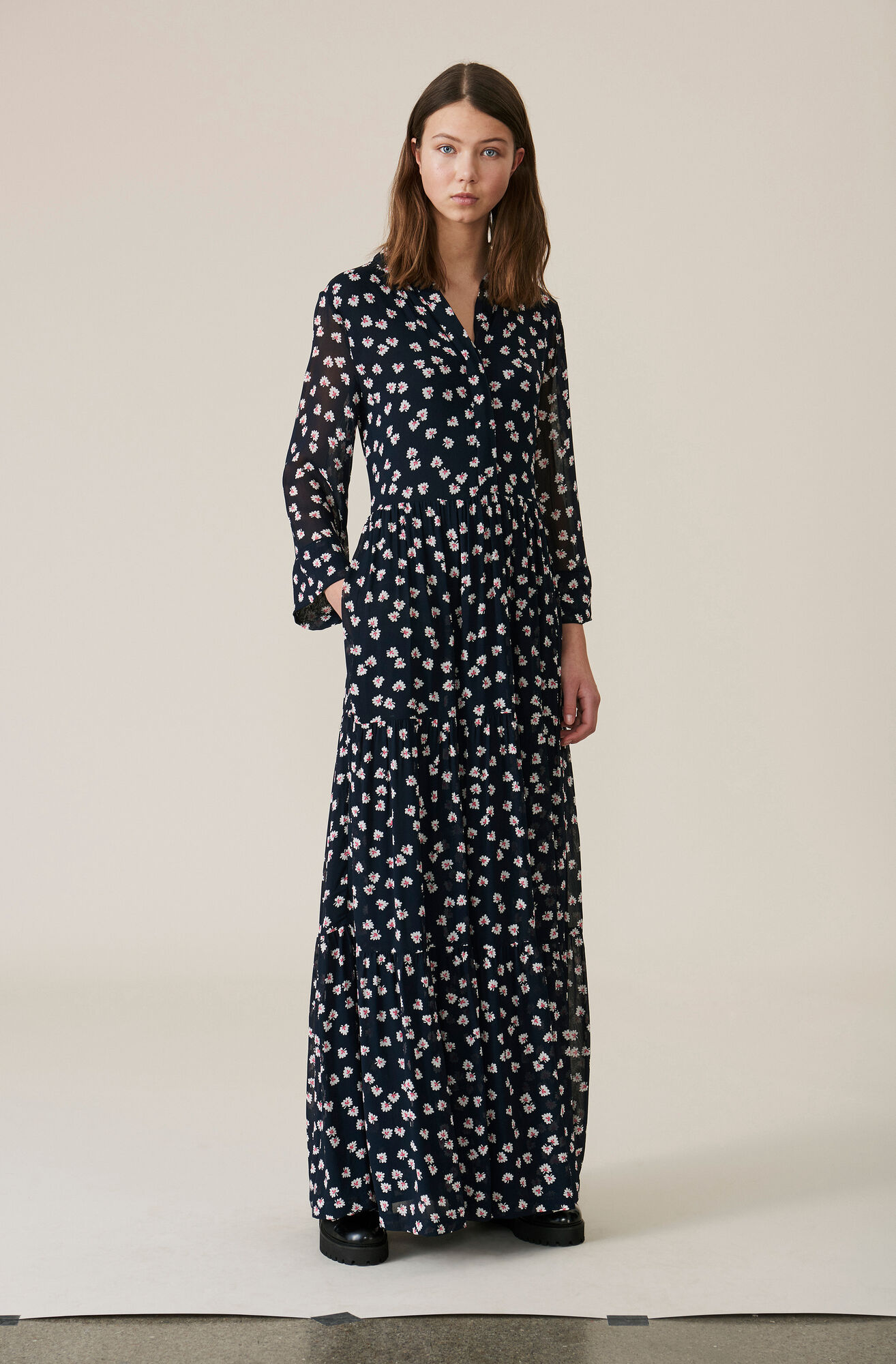 Rometty Georgette Maxi Dress, Total Eclipse, hi-res