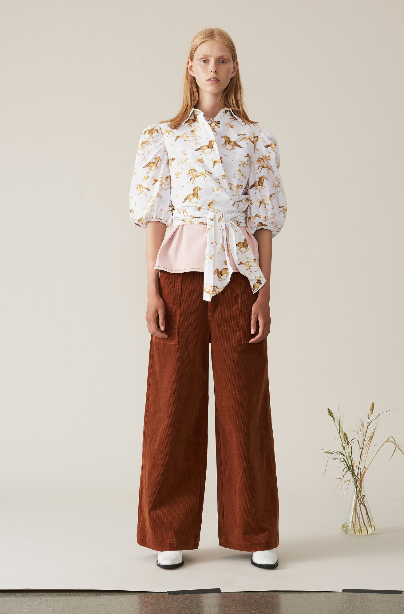Printed Poplin Wrap Shirt, Bright White, hi-res