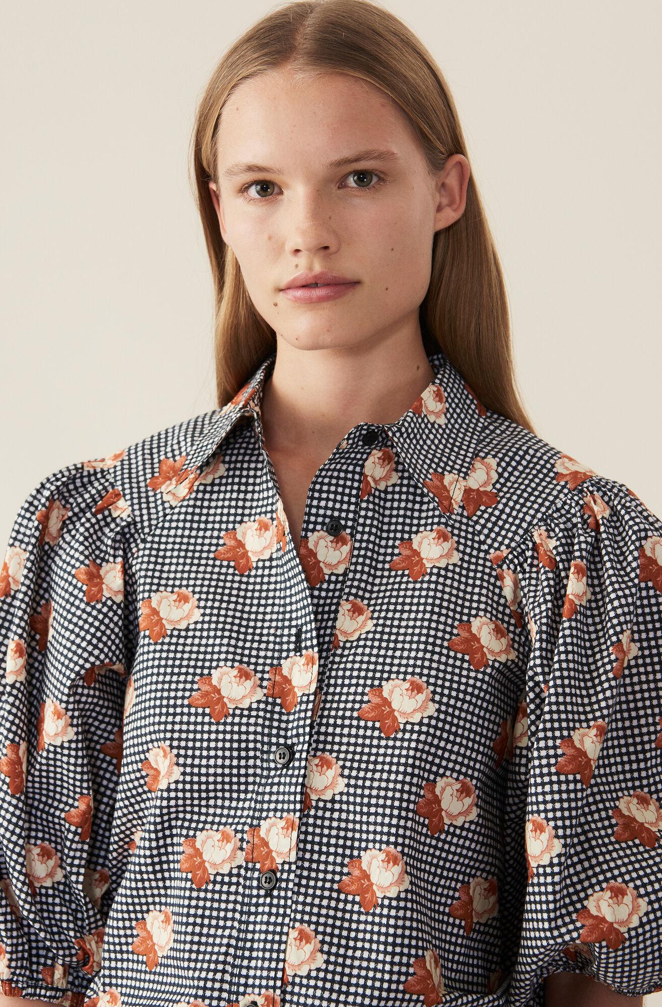 Printed Cotton Poplin Shirt, Black, hi-res
