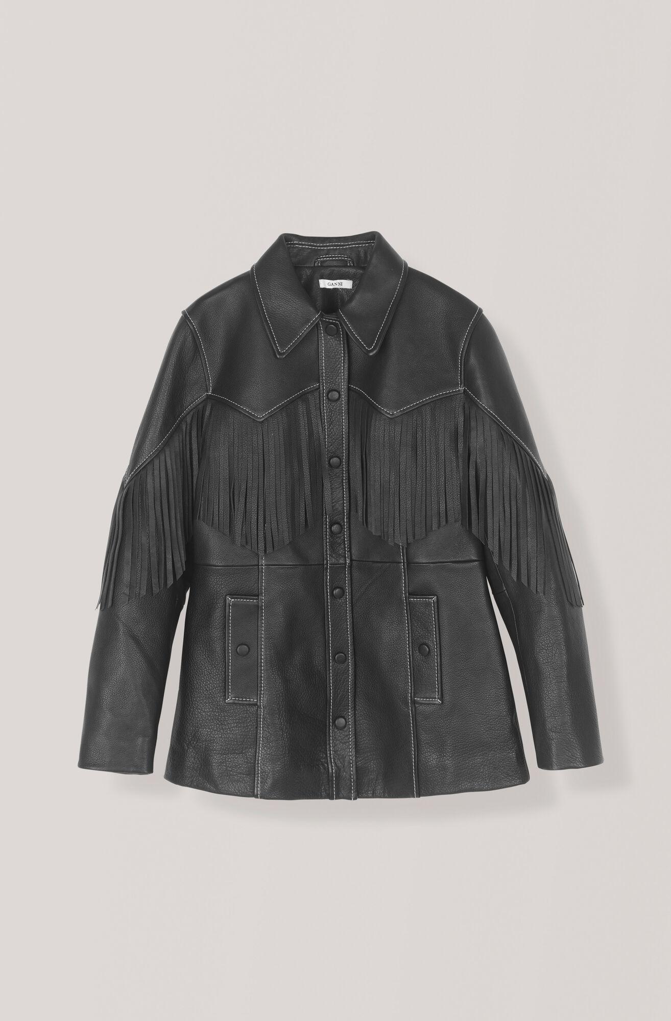 Heavy Leather Jacke, Black, hi-res