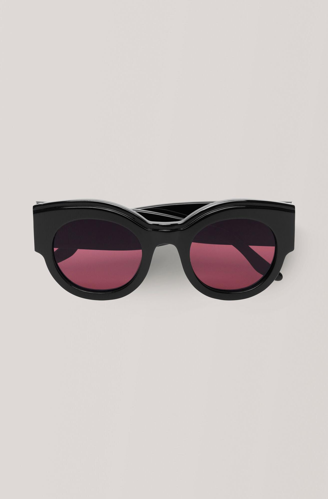 Round Sunglasses Sonnenbrille, Black, hi-res