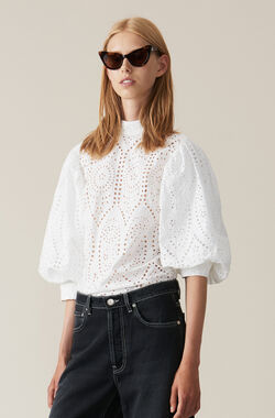 Broderie Anglaise Blouse, Bright White, hi-res
